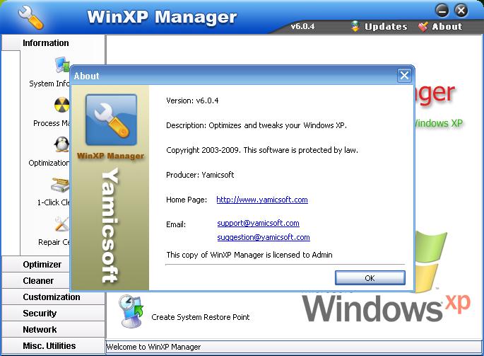 Yamicsoft WinXP Manager 8.0.1