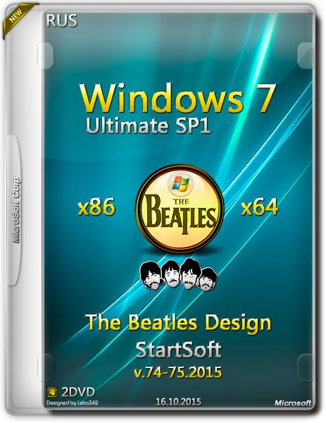 Windows 7 Ultimate SP1 x86/x64 The Beatles Design StartSoft v.74-75.2015