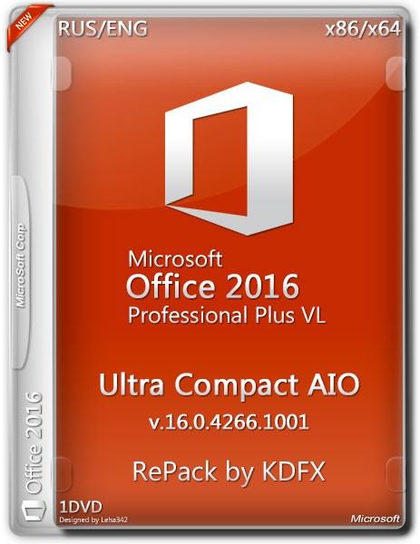Microsoft Office Pro Plus 2016 Ultra Compact AIO v.16.0 RePack by KDFX
