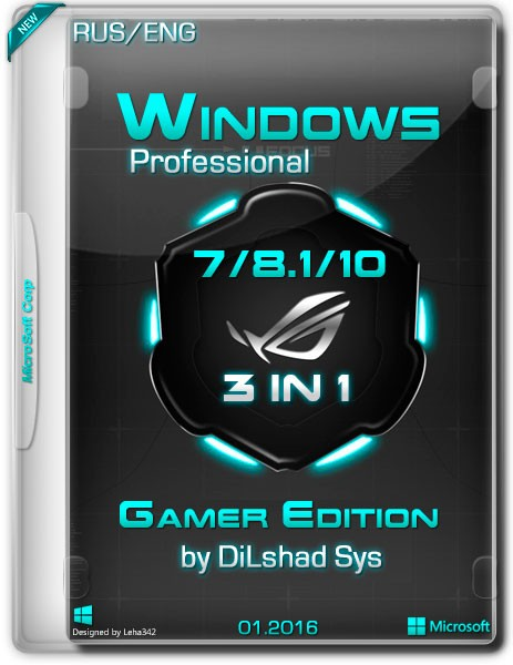 Windows 7/8.1/10 Pro x64 3in1 E-Gamer by DiLshad Sys
